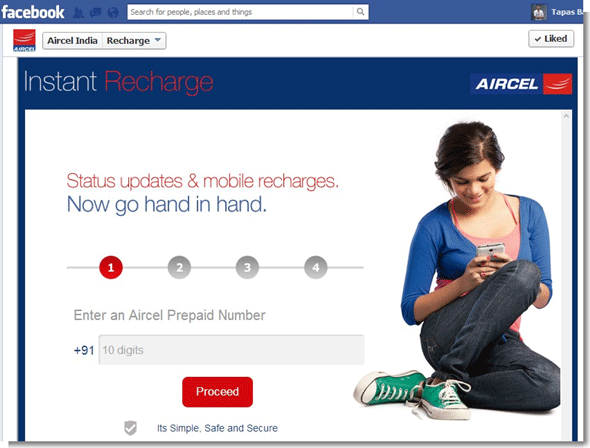 Aircel facebook Instant Recharge