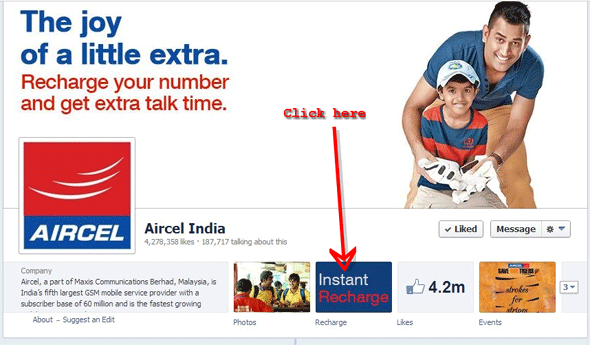 how to recharge aircel on facebook