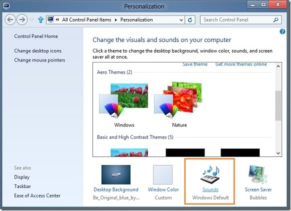 how to change windows 8 startup sound